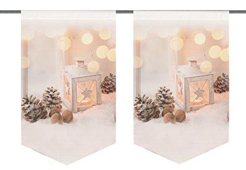 Home Fashion Laterne Fensterbehang, Stoff, Natur, 45 x 30 x 0,1 cm, 2-Einheiten