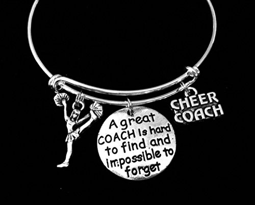 Cheer Coach Cheerleader Jewelry Adjustable Bracelet Expandable Silver Charm Bangle One Size Fits All Gift A Great Coach is Hard to Find and Impossible to Forget Personalization Options Available
