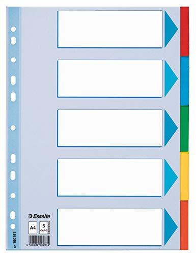 Esselte Divisori per Raccoglitori con 5 Tasti, Formato A4, Blu/Multicolore, Cartoncino Robusto Riciclato, 5 Tasti con Pagina Indice, 100191