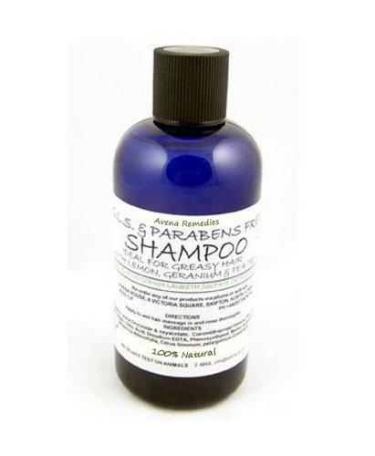 100% Natural Shampoo for Greasy Hair: SLS Free & Parabens Free Shampoo with Lemon, Geranium & Tea Tree Essentail Oils 500ml by Avena Remedies