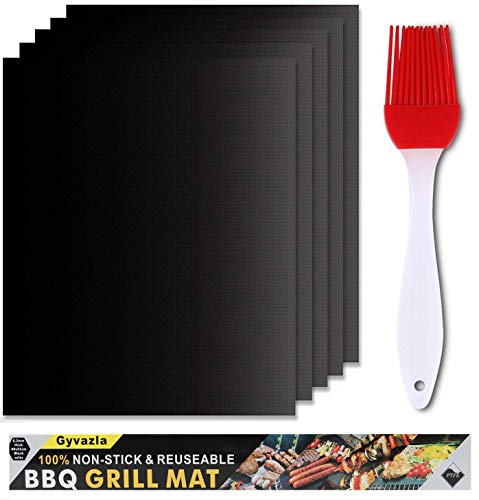 Gyvazla BBQ Grill Mat Set van 5, Niet Stick Oven Liner Teflon Barbecue Kookmatten, Perfect voor Bakken op Gas, Kolen, Oven en Elektrische Grills - Herbruikbaar, met Oil Brush - FDA Certified