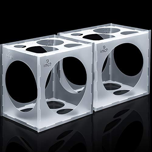 11 Agujeros de Caja de Cubos de Plástico Plegable Herramienta de Medición de Globos para Decoraciones de Globos de Fiesta Bodas Cumpleaños, 2-10 Pulgadas (2 Pieza)