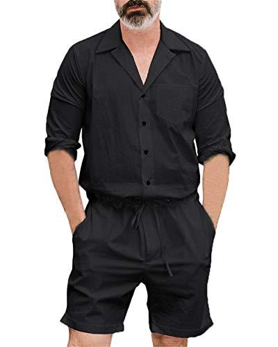 Herren One Piece Overall Long Sleeve Stehkragen Einfarbig Kurz Jumpsuit Mode Freizeit Jumpsuits M L XL 2XL 3XL 4XL (Schwarz, L)