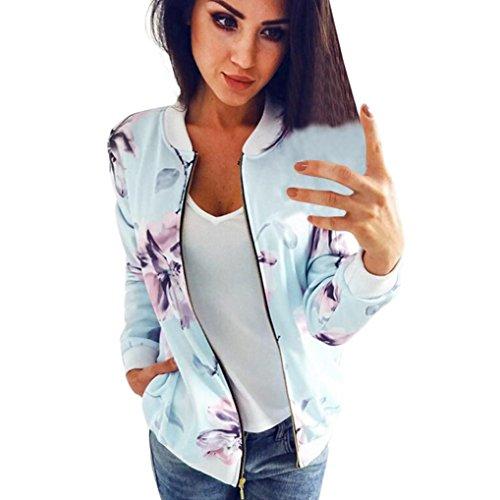 Longra Damenmode Frühling Herbst Floral Baseball Mantel Tops Coat Bomberjacke Bikerjacke Reißverschluss Fliegerjacke Kurzjacke Frauen Langarm Sweatshirt Pullover Jacke Outwear Mantel (S, Light Blue)