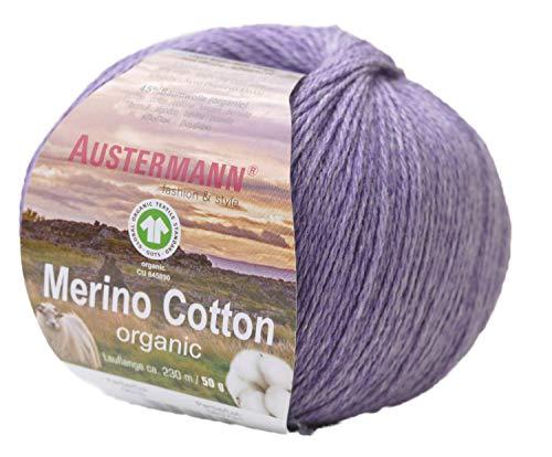 austermann Merino Cotton Organic, Flieder 16, Biowolle zum Stricken und Häkeln, Wolle GOTS Zertifiziert
