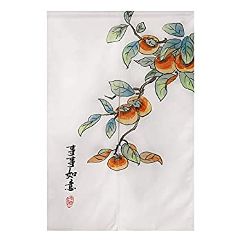Japanese Noren Doorway Curtain Cotton Linen Wealth and Fortune Persimmon Chinese Tapestry Door Curtains Home Decortaion 33  Width x 47  Long