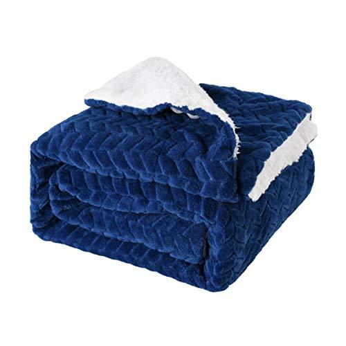 Manta de peluche de Sherpa, manta de felpa ultra lujosa, manta gruesa para sofá cama en casa de invierno, doble capa (150 x 120 cm)