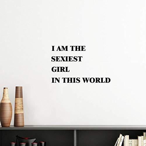 DIYthinker Ich bin die Sexiest Mädchen Silhouette entfernbarer Wand-Aufkleber-Kunst-Abziehbilder Wand-DIY Tapete Für Zimmer Aufkleber 40cm Rosa