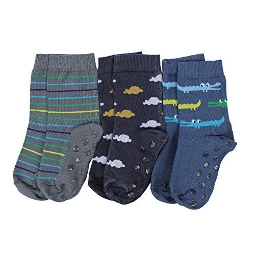 TupTam Baby Jungen Socken mit ABS Noppen 3er Pack, Farbe: Farbenmix 8, Socken Größe: 23-26