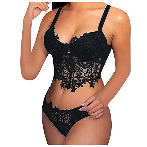 XUEbing Sexy Set Sexy Lace Bra y Panty Set Bordado Encaje Collar Sujetador Inalmbrico Babydoll Lencera Tanga Conjunto Ropa Interior