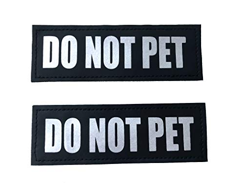 ALBCORP Reflective Do Not Pet Patches with Hook Backing for Service Animal Vests/Harnesses Medium (5 X 1.5) Inch