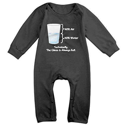 SDGSS Technically The Glass is Completely Newborn Baby Rompers - Ropa para bebé de 6 a 24 m Negro 18 Meses