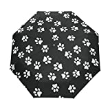 Paraguas para perro con diseño de huella de perro, para niña, hombre, apertura automática, pequeña, a prueba de lluvia, 3 paraguas, plegable, para mujeres, protección UV