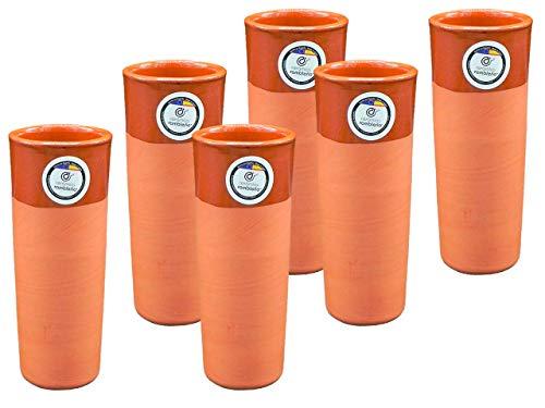 CERÁMICA RAMBLEÑA | Juego Vasos de Cerveza 6 Unidades | Tubos de Cerveza en Barro Rojo | Vasos de Agua | 300 ml