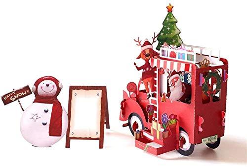 KEEBON 3D handgemachte Schneemann Weihnachtsmann Weihnachten Blume Auto Papier Einladung Grußkarten Postkarte Neujahr Party Kreative Geschenk