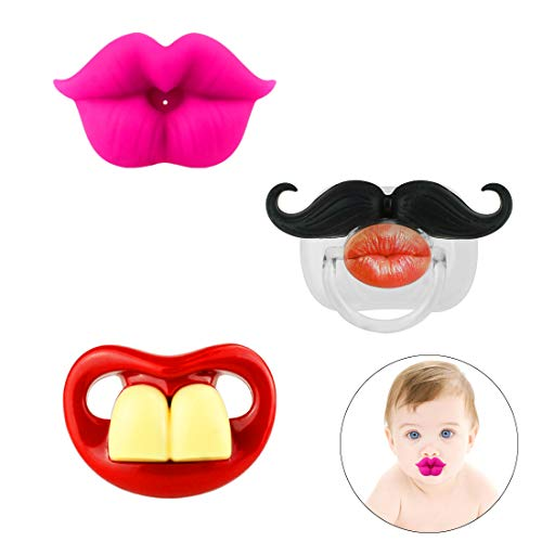 Funny Baby Mustache Pacifier: Cute Baby Pacifiers Designed with Adorable kiss...