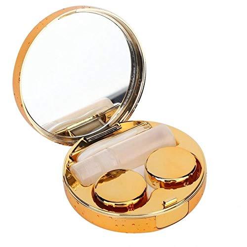 ZFZFZF Tragbare mini runde kontaktlinsen fall mode reflektierende brillenetui schöne student box pflege aufbewahrungsbox 7.6 * 3.2cm Gold