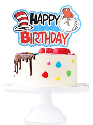 Cartoon Dr. Seuss Happy Birthaday Cake Topper - Baby Shower Cat In The Hat Glitter Dr. Seuss Cake Décor - Kids Birthday Girls Boys Birthday Party Decoration