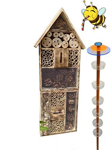 ÖLBAUM 1x Bienenhotel, Insektenhotel MIT BIENENTRÄNKE,XXL Bienenstock & Bienenfutterstation für Wildbienen, Hummeln Schmetterlinge Nistkasten GEFLAMMT geflammt