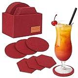 Mostfun Juego de 12 posavasos de fieltro, redondos, hexagonales, para cuencos, tazas, vasos, posavasos de mesa, color rojo