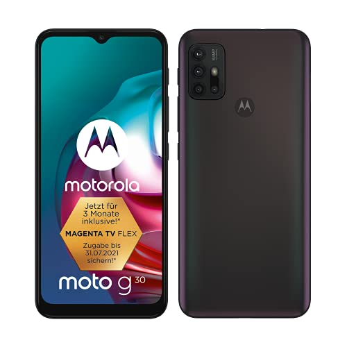 "Motorola moto g30 (6,5""-Bildschirm, 64-MP-Kamera, 4/128 GB, 5000 mAh, Dual-SIM, Android 11) Dark Pearl, inkl. Schutzcover [Exklusiv bei Amazon]"