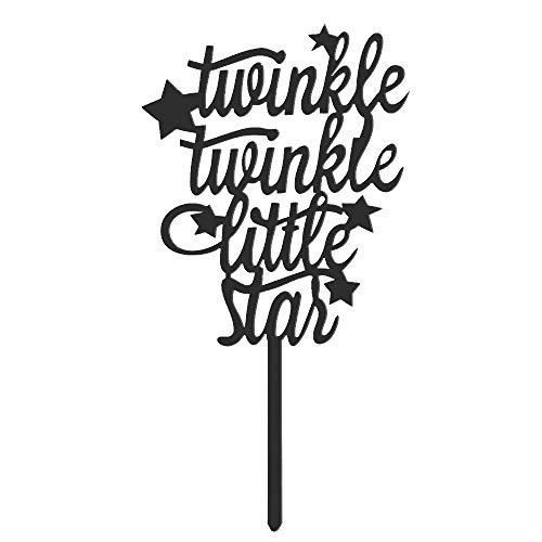 Citroen-Land Goud Zwart Xmas Feestartikelen Baby Douche Bruiloft Decoratie Acryl Decor Twinkle Kleine Ster Taart Topper Hoe Ik Wonder Twinkle-Black