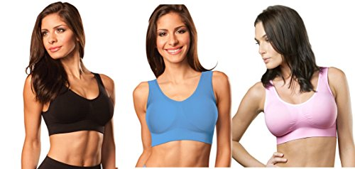 Genie Bra (3 Pack Womens Seamless, Wireless Bra, As Seen On TV, with Removable Pads for Extra Lift (Black/Powder Blue/Barely Pink, 2X)