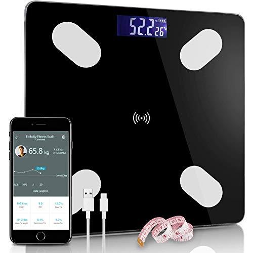 Karpal Körperfettwaage, Bluetooth Personenwaage mit App, Smart Digitale Waage für Körperfett, BMI, Gewicht, Muskelmasse, Wasser, Protein, Skelettmuskel, Knochengewicht, BMR (Schwarz)