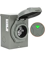 WELLUCK 30 Amp Generator Power Inlet Box, NEMA 3R Power Inlet Box with 4 Prone, PB30, L14-30P, 125/250 Volt, 7500W Generator Inlet for Outdoor Receptacle, Generator Outlet, Weatherproof, ETL Listed
