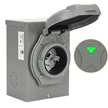 WELLUCK 50 Amp Generator Power Inlet Box NEMA 3R Power Inlet Box PB50 SS2-50P CS6375 Generator Plug for Outdoor Receptacle Generator Outlet Weatherproof ETL Listed 125/250 Volt 12500W