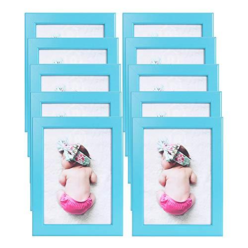 Muzilife 13x18cm Bilderrahmen 10er Set ohne Passepartout - Ostern Baby Fotorahmen für Portrait/Galerie an der Wand Aufhängen Order Tische Stellen (Blau)