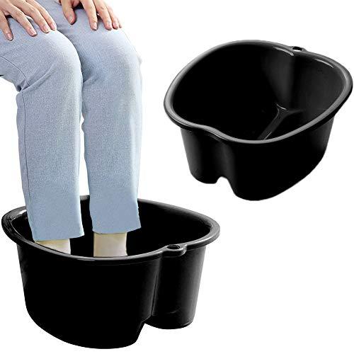 Foot Soaking Bath Basin, Large Size Feet Massager Tub, At Home Spa Pedicure Treatment (FBBlack3)