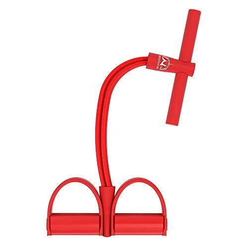 Corda elastica multifunzionale per allenamento con 4 corde, fascia per gambe con pedali, per yoga, fitness, addominali, body-building, fascia elastica per esercizio, da casa e palestra, Rosso