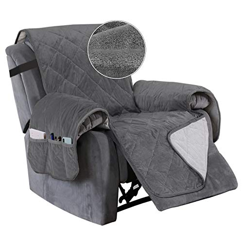 Turquoize Recliner Cover Velvet Recliner Chair Cover, Pet Cover for Recliner with Elastic Straps Recliner Seat Width Up to 28  Sofa Slipcover for Living Room Furniture Protector (Large, Gray)