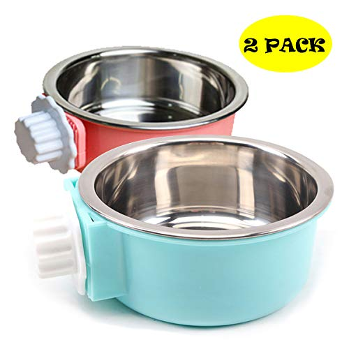 N/Y 2 Pcs Dog Crate Water Bowl, Stainless Steel Removable Food Bowl, No Spill Dog Bowl for Crate, Hanging Food Water Feeder Coop Cup for Pet Categories