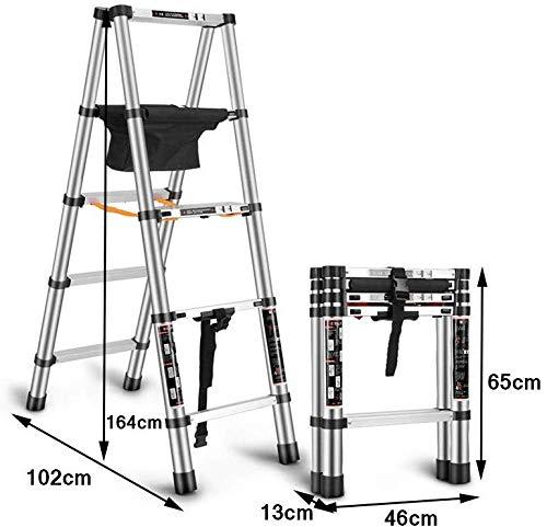 Telescópica Escalera con barra estabilizadora, aleación de aluminio Engrosamiento Ingeniería General Perfil escalera portátil multifunción de elevación puede caminar alta escalera plegable del hogar: Amazon.es: Bricolaje y herramientas