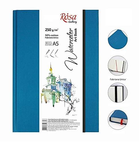 Skizzenbuch A5, für Aquarellfarben ROSA Galerie, 32 Blatt, weißes Papier, Aquarell (Fabriano) A5