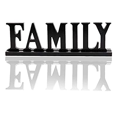 YK Decor Wooden Family Words Decorative Sign Free Standing Table Top Decoration, Cutout Wood Letter Art Home Decor Black
