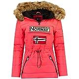 Geographical Norway Belinda Lady – Parka cálida para mujer – Abrigo impermeable con capucha de piel – Abrigo cortavientos – Chaqueta de forro cálido para mujer (Coral, M)