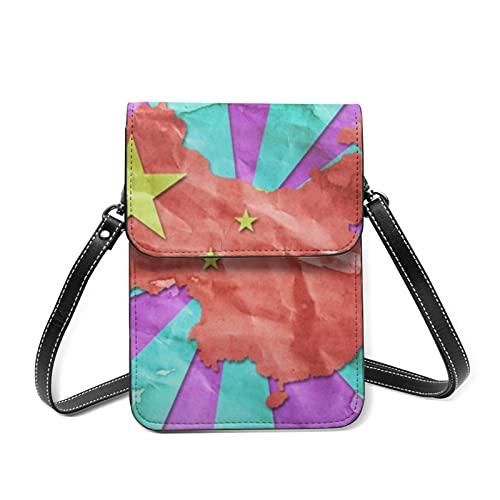 Bolsos de hombro para teléfono de las mujeres Vintage colorido pared linda...