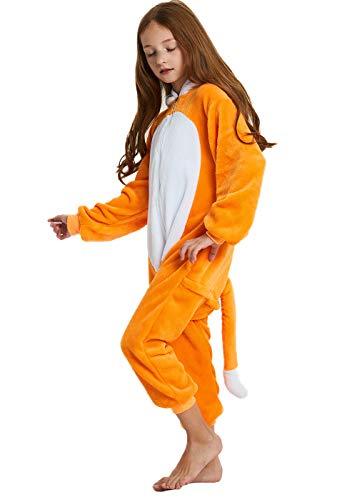 ABENCA Kids Fleece Onesie Pajamas Christmas Halloween Animal Cosplay Sleepwear Costume,Fox,140