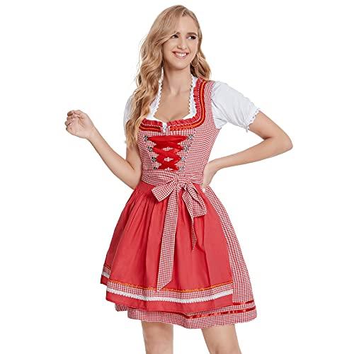 Kariertes Kleid Blau Rot Damen Bluse Weiß Mit Schürze Oktoberfest Deutschland Kleid Midi 100% Baumwolle zum Party Oktoberfest Dirndlbluse...