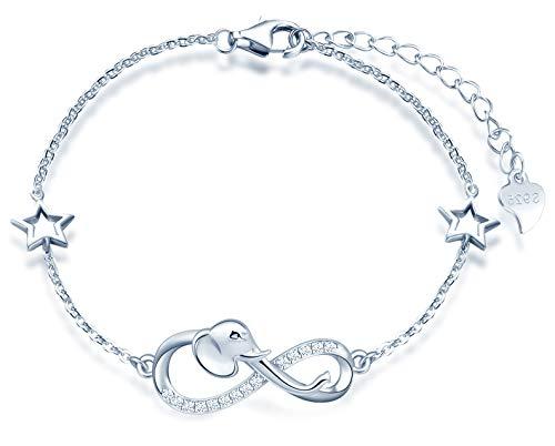 INFINIONLY Pulsera para mujer niña, pulsera de plata de ley 925, pulseras de símbolo de infinito con elefante lindo, decorar diamantes, corazones o estrellas, zirconia, plateado, pulsera elefante