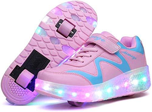 liangh Draussen Turnschuhe,Atmungs Kinder Schuh,Mode LED Rolle Schuhe,Einziehbare Einrad Schuhe,Rosa-EU28,Pink-EU36