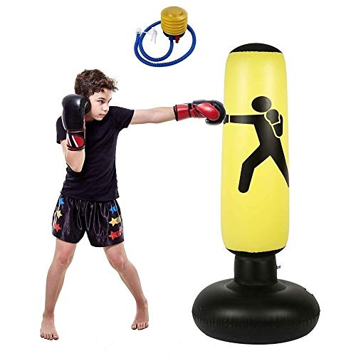 WOF Aufblasbarer Boxsack Box-Aufblasbarer Boxsack Bag Boxing Freistehende Fitness Target Stand Stand Tower Bag for Kinder und Erwachsene Boxing Target Bag mit Pumpe