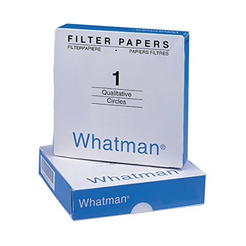 Whatman 1001-125 Qualitative Filter Paper Circles, 11 Micron, 10.5 s/100mL/sq inch Flow Rate, Grade 1, 125mm Diameter (Pack of 100)