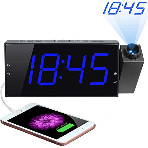 "Projection Alarm Clock, 7"" Large Digital LED Display & Dimmer, USB Charger, Adjustable Ringer, 12/24 H, DST, Battery Backup Dual Alarm Clock for Bedrooms Ceiling Wall Home Kitchen Desk, Kids Elders"