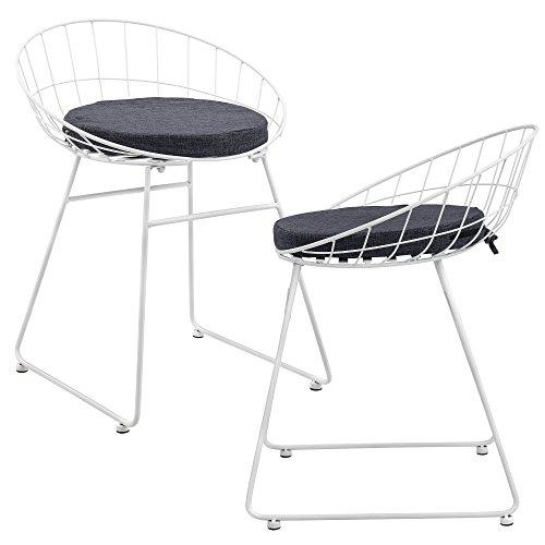 [en.casa] Metallstuhl im 2er-Set 65 x 50cm Wohnzimmerstuhl Esszimmerstuhl mit gemütlichem Polsterkissen Weiß