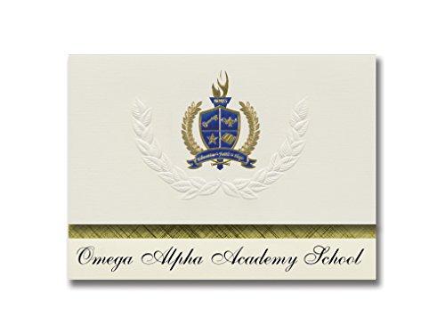 Signature Announcements Omega Alpha Academy School (Douglas, AZ) Graduation Ankündigungen, 25 Stück, Gold & Blau Metallic Folie, 15,9 x 29 cm, Creme (PAC_BASICPres_HS25_100689_206044)