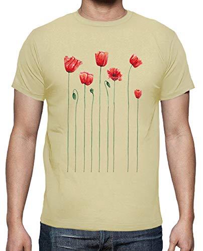 tostadora - T-Shirt Mohn Zeit - Manner Creme XXL